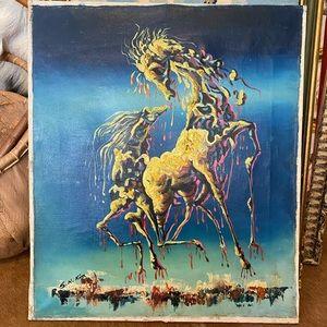 vintage mid-century horse oil painting